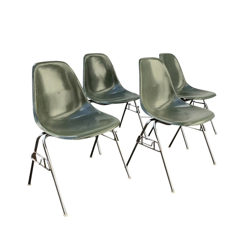 new product 27bcc 685aa 1950, Ray & Charles Eames for Herman Miller Set DSS Fiberglass Stacking  Chairs