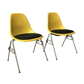 separation shoes aa306 24705 1950 Ray & Charles Eames Herman Miller 2 DSS Fiberglass Stacking Chairs &  Pillow