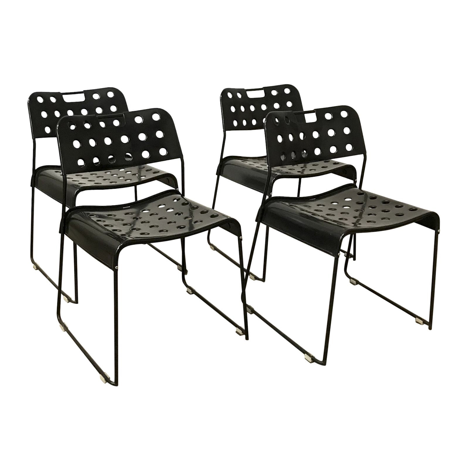 1971 Rodney Kinsman Set Of Rare All Black Incl Frame Omstak Stacking Chairs