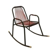 Fantastic 1960S Rocking Chair In Red Plastic Strings On Black Metal Forskolin Free Trial Chair Design Images Forskolin Free Trialorg