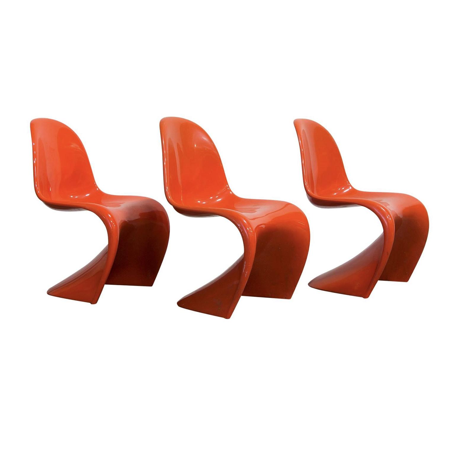 1965 Verner Panton Stacking Chair First Herman Miller Edition In Orange